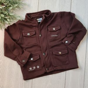 Calvin Klein chocolate snap front jersey cardigan